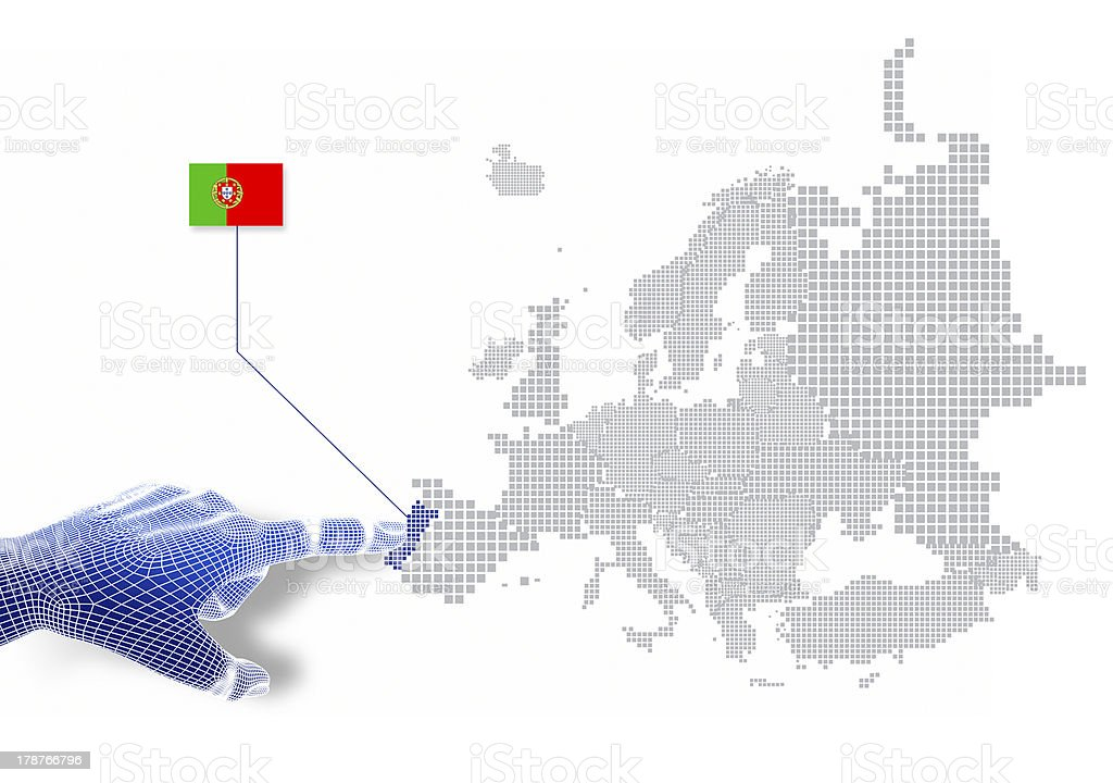 3d Finger touch on display Portugal map and flag. royalty-free stock photo