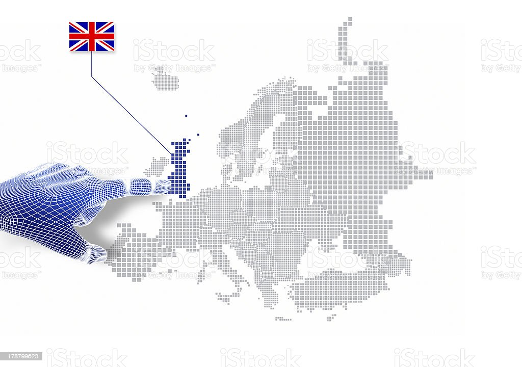 3d Finger touch on display United kingdom map and flag. stock photo