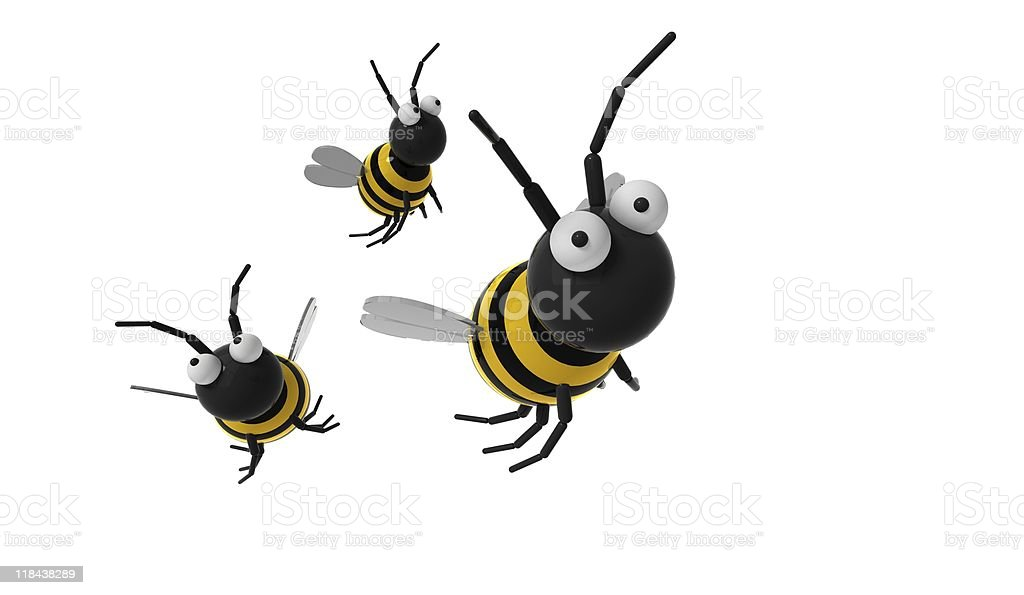 3d flying bee on white background royalty-free stock vector art