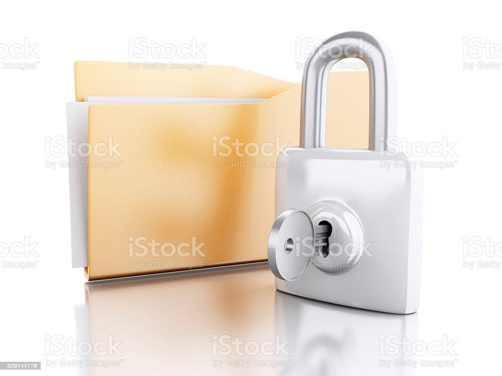 3d Folder with padlock and key. stock photo