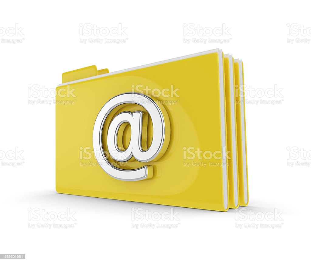 3d folders with email symbol isolated over white stock photo