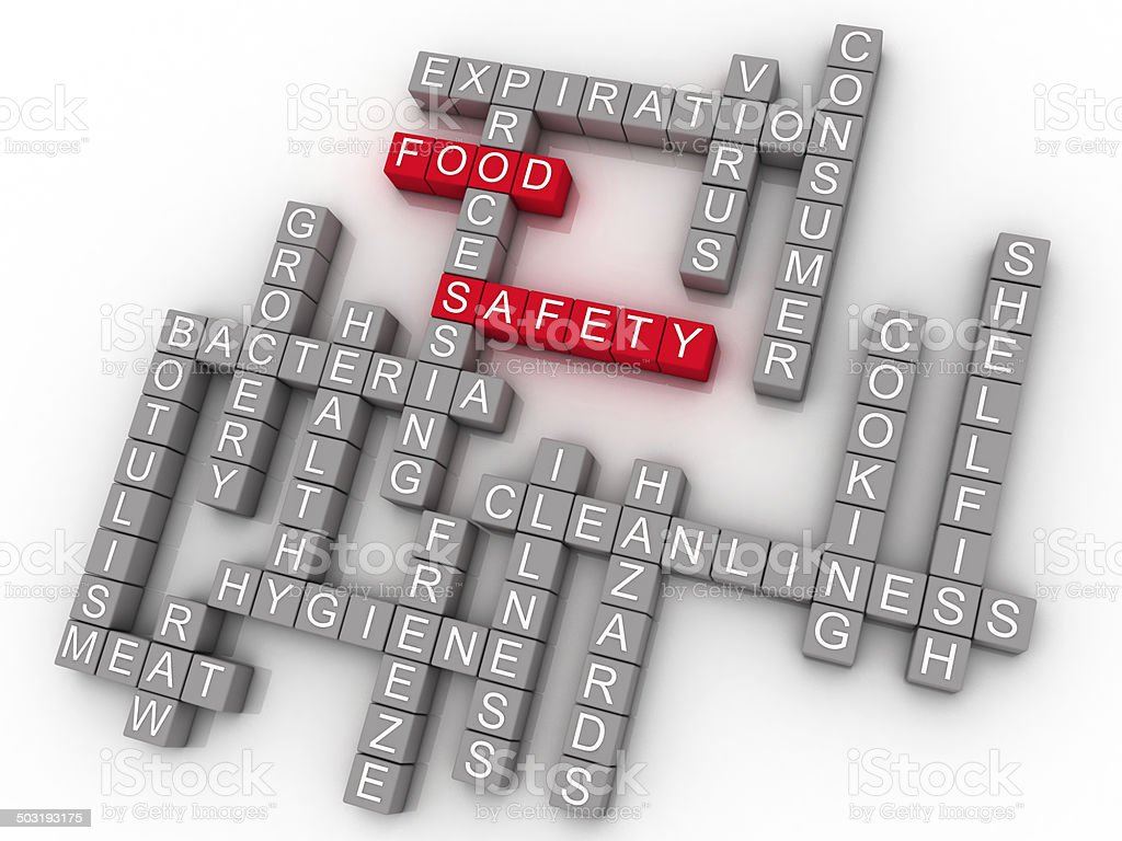 3d Food Safety Word Cloud Concept stock photo