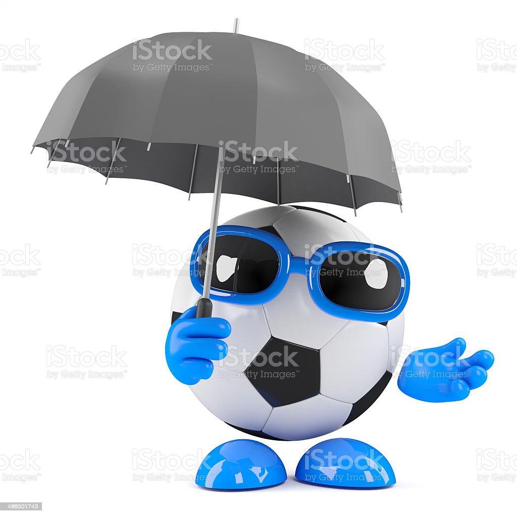 3d Football in the rain stock photo