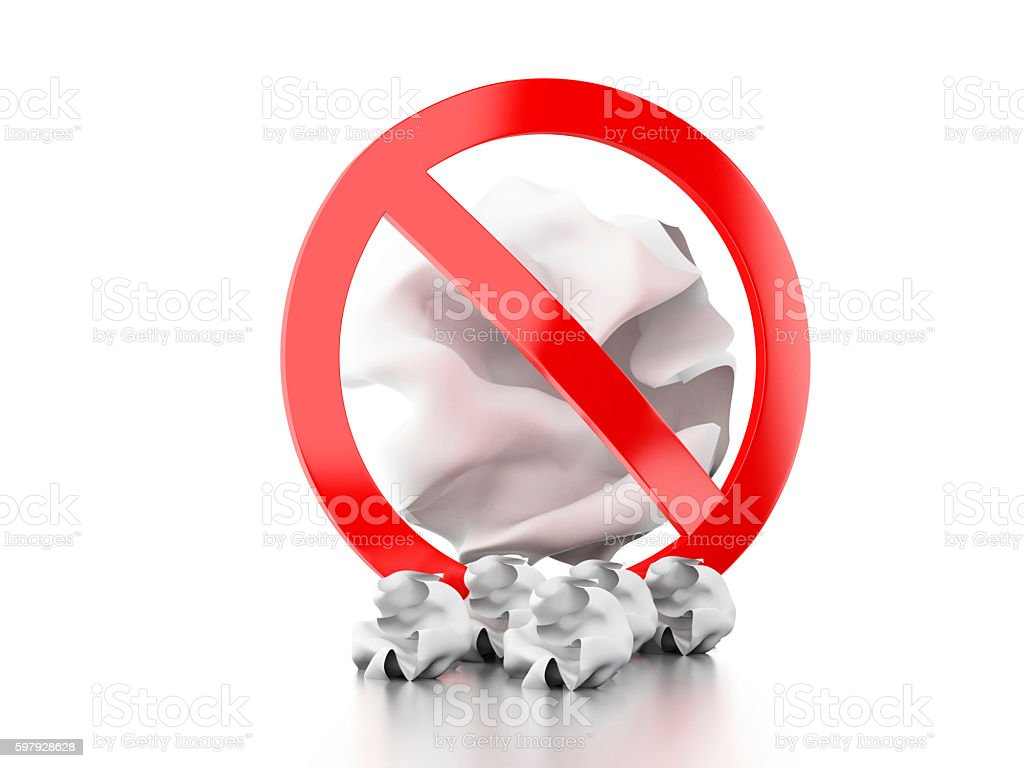 3d forbidden sign throwing trash to the floor. stock photo