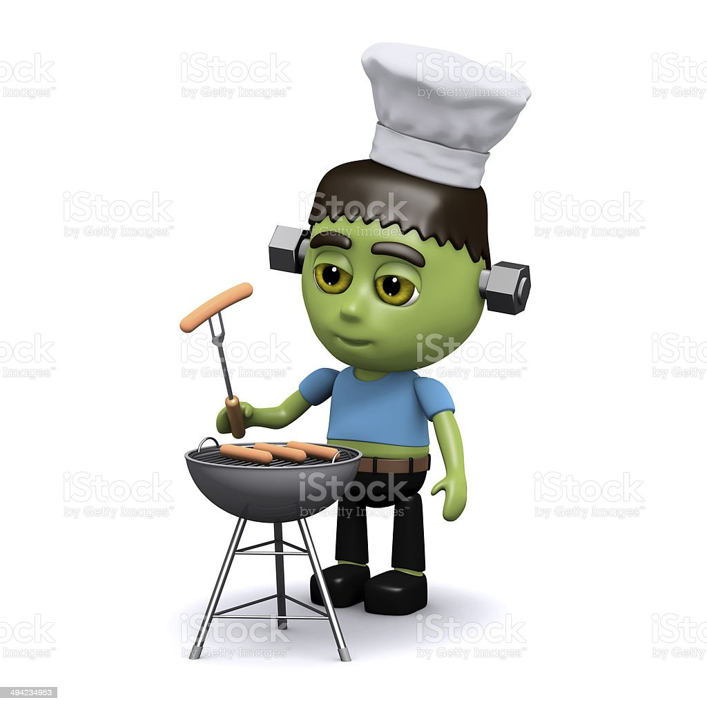 3d Frankenstein barbeque stock photo