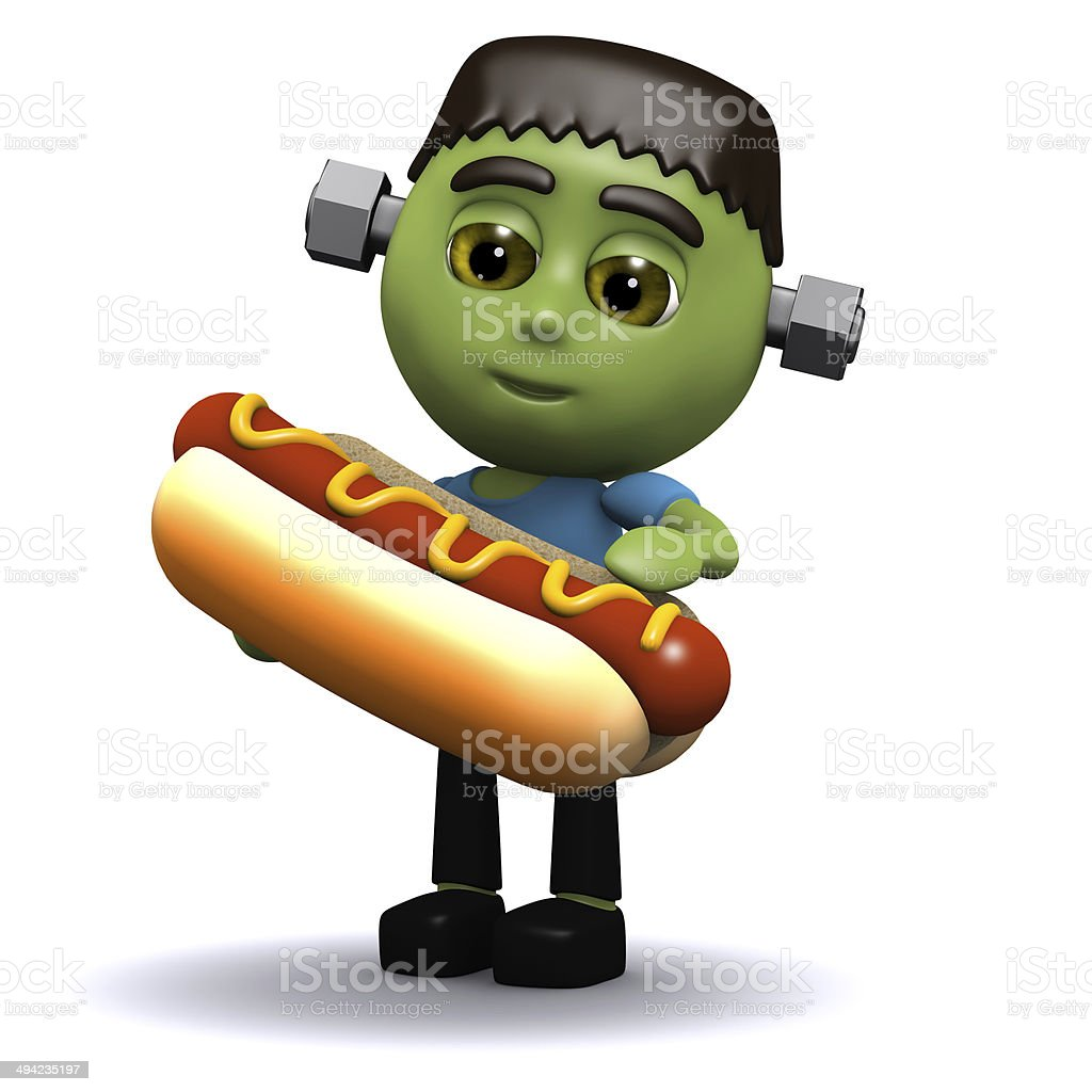 3d Frankenstein eats a hotdog stock photo