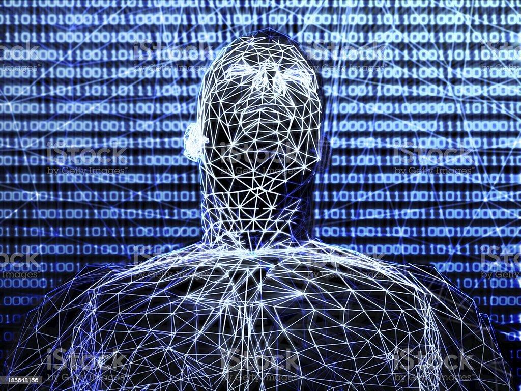 3d futuristic man wire frame in binary network stock photo