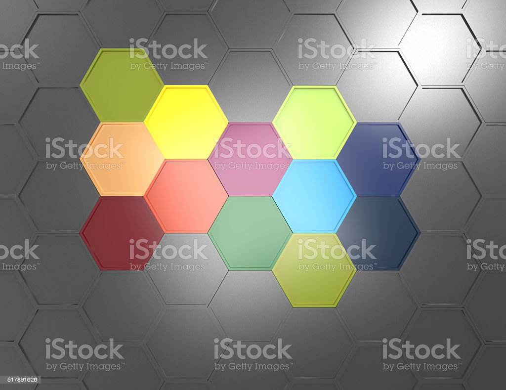 3d geometric background with colorful hexagons stock photo