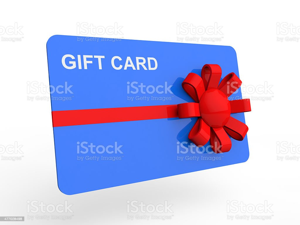 3d gift card with ribbon stock photo