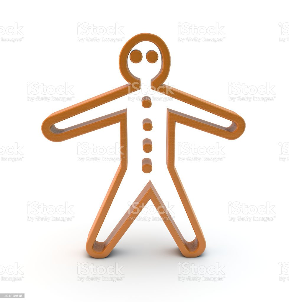 3d gingerbread man symbol stock photo