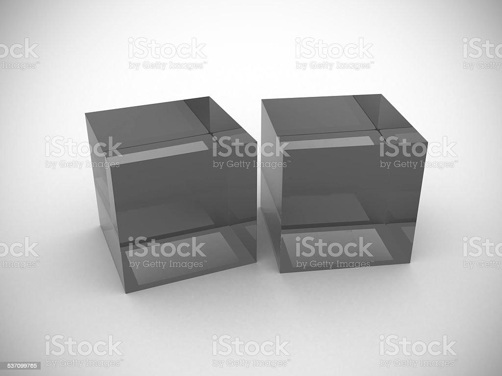 3d glass cube stock photo
