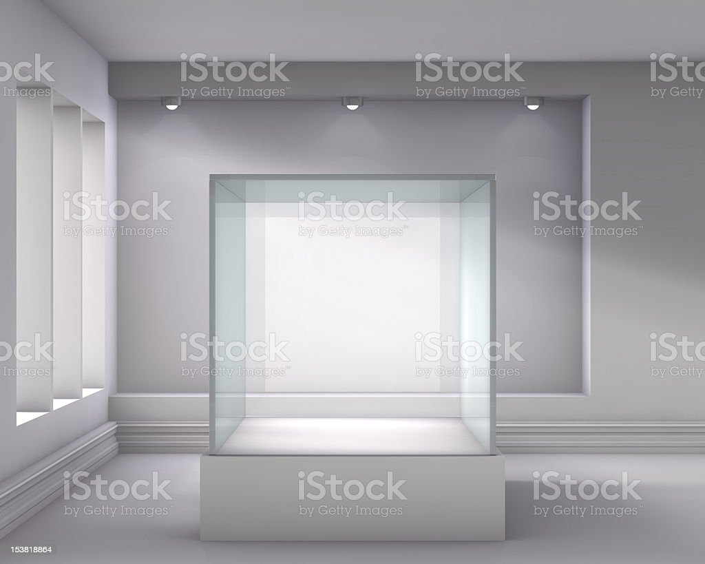3d glass showcase and niche with spotlights stock photo