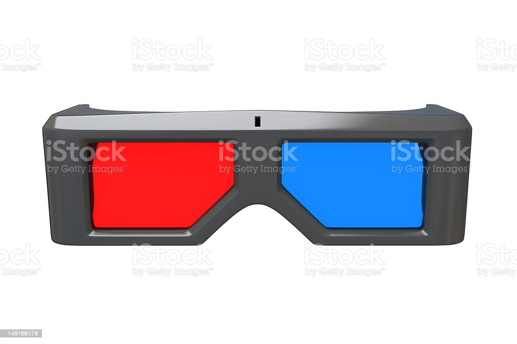 3d glasses front view royalty-free stock photo