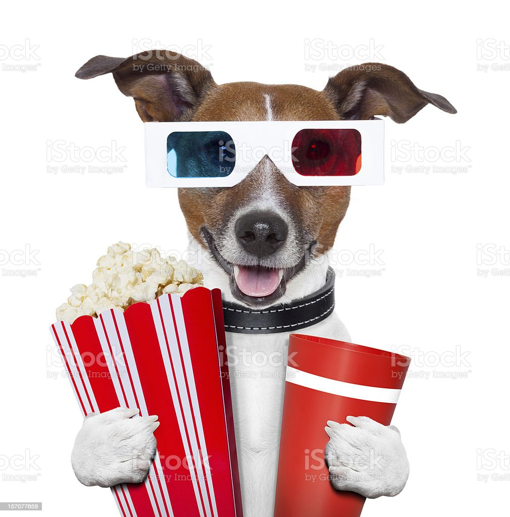 3d glasses movie popcorn dog stock photo
