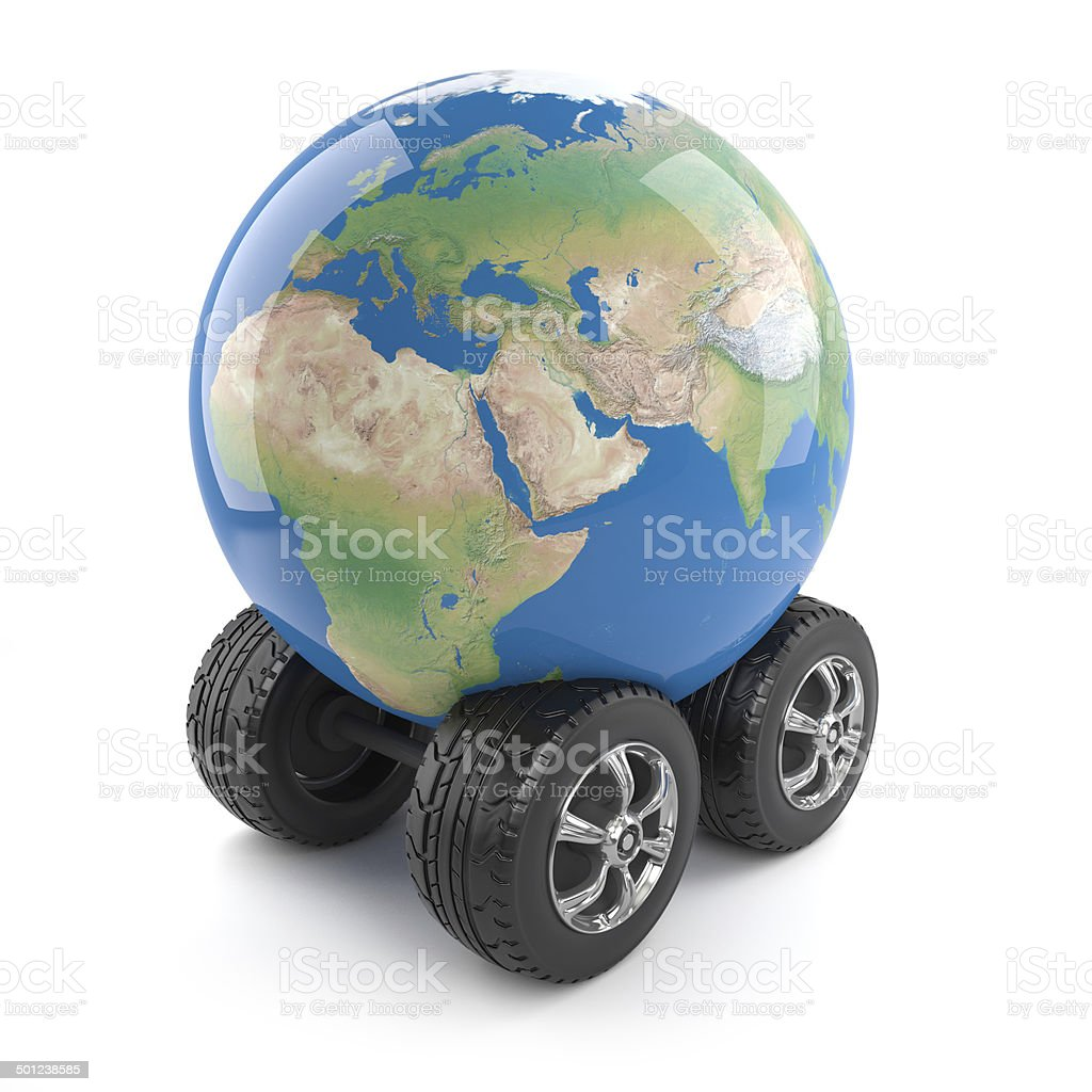 3d Globe of the Earth with wheels stock photo