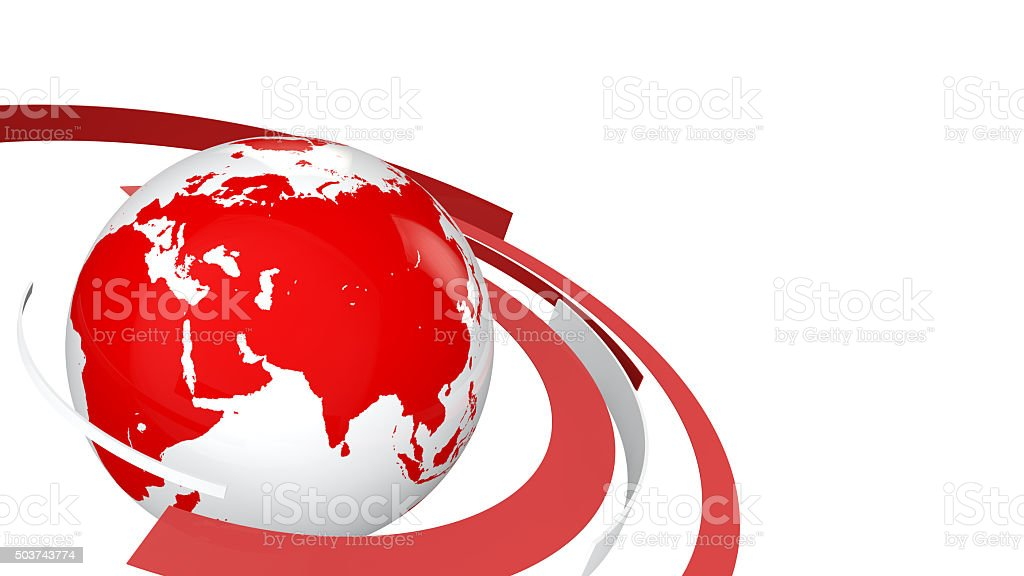 3d globe with red and white lines stock photo