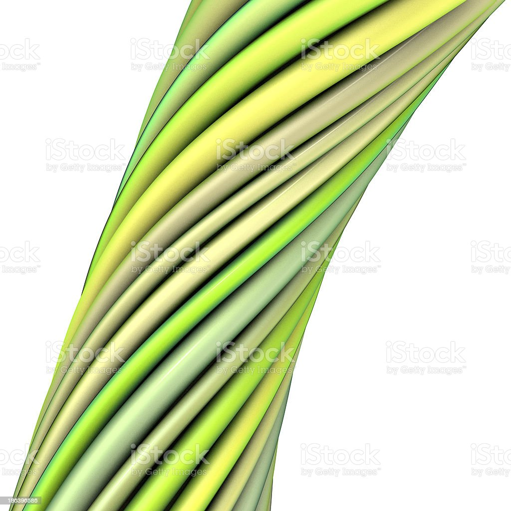 3d glossy twisted cable in green yellow on white royalty-free stock photo