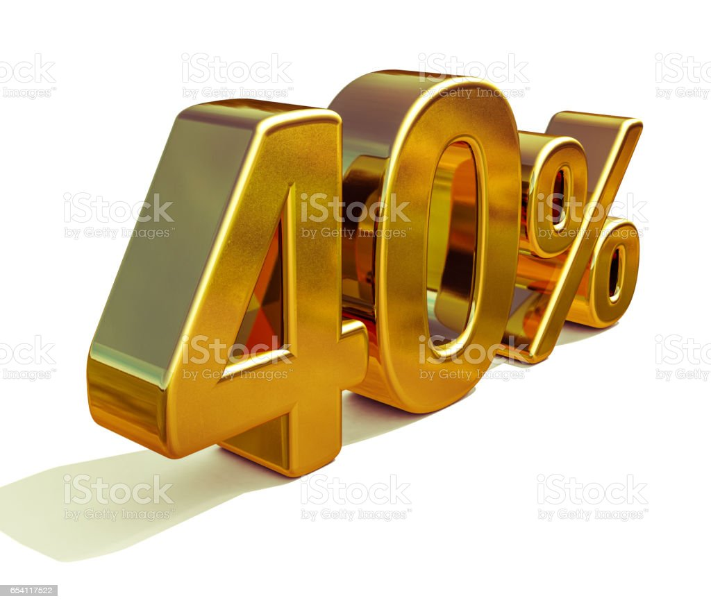 3d Gold 40 Forty Percent Discount Sign stock photo