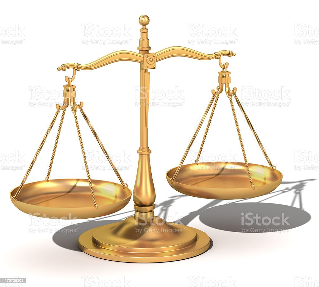3d gold balance, the scales of justice royalty-free stock photo