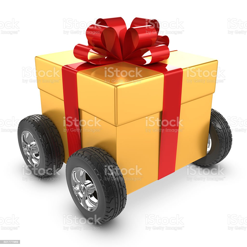 3d Gold gift on wheels stock photo
