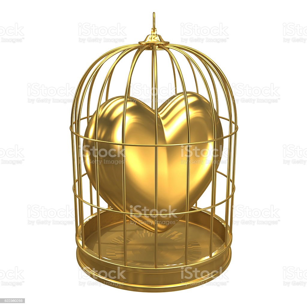 3d Gold heart in a bird cage vector art illustration