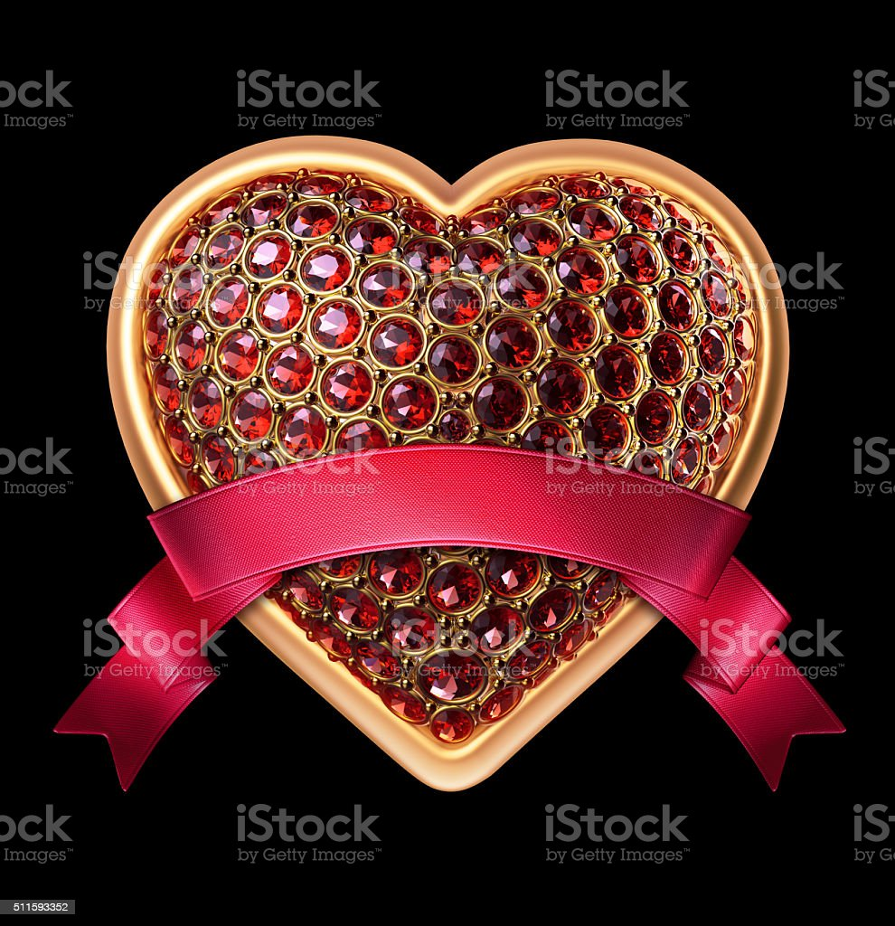 3d gold heart with ruby crystals and red ribbon tag stock photo