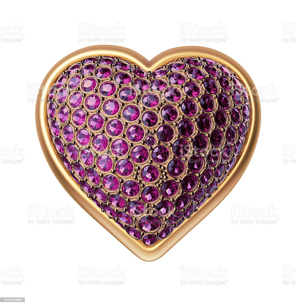 3d gold heart with ruby crystals, Valentines day clip art stock photo