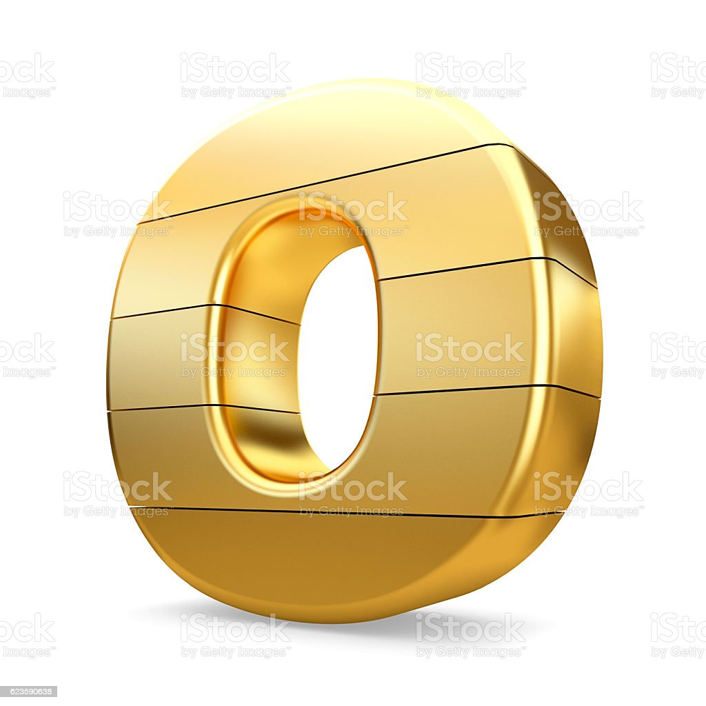 3d gold letter O isolated white background. stock photo