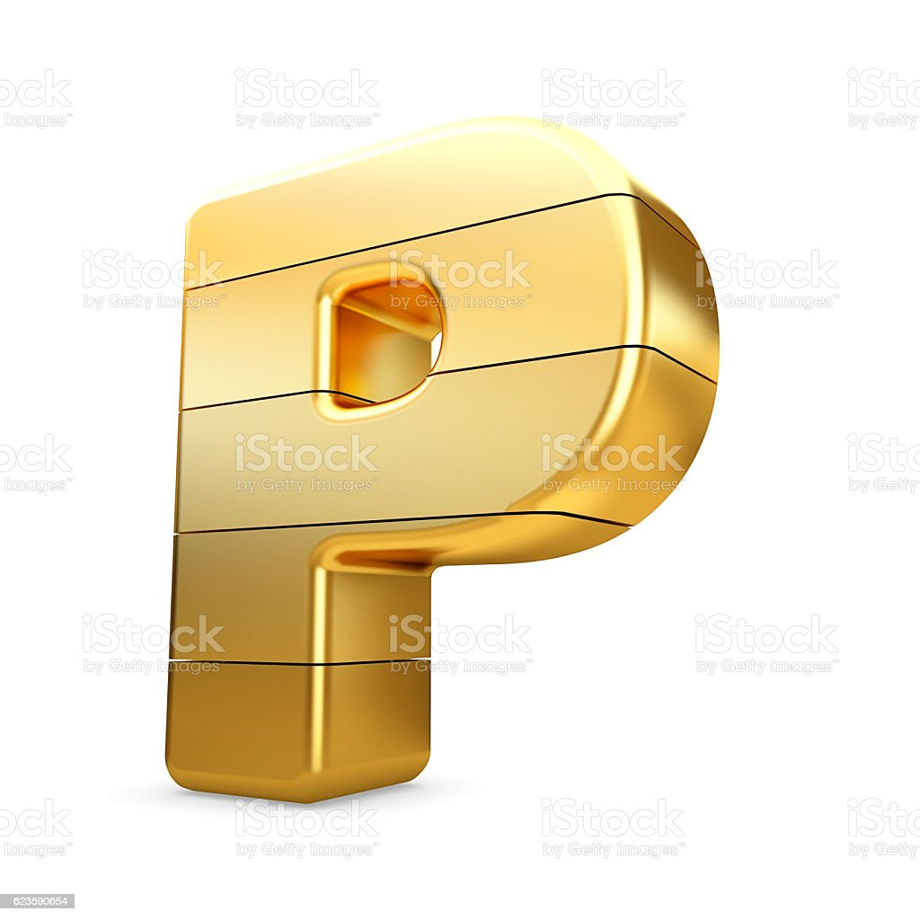 3d gold letter P isolated white background. stock photo