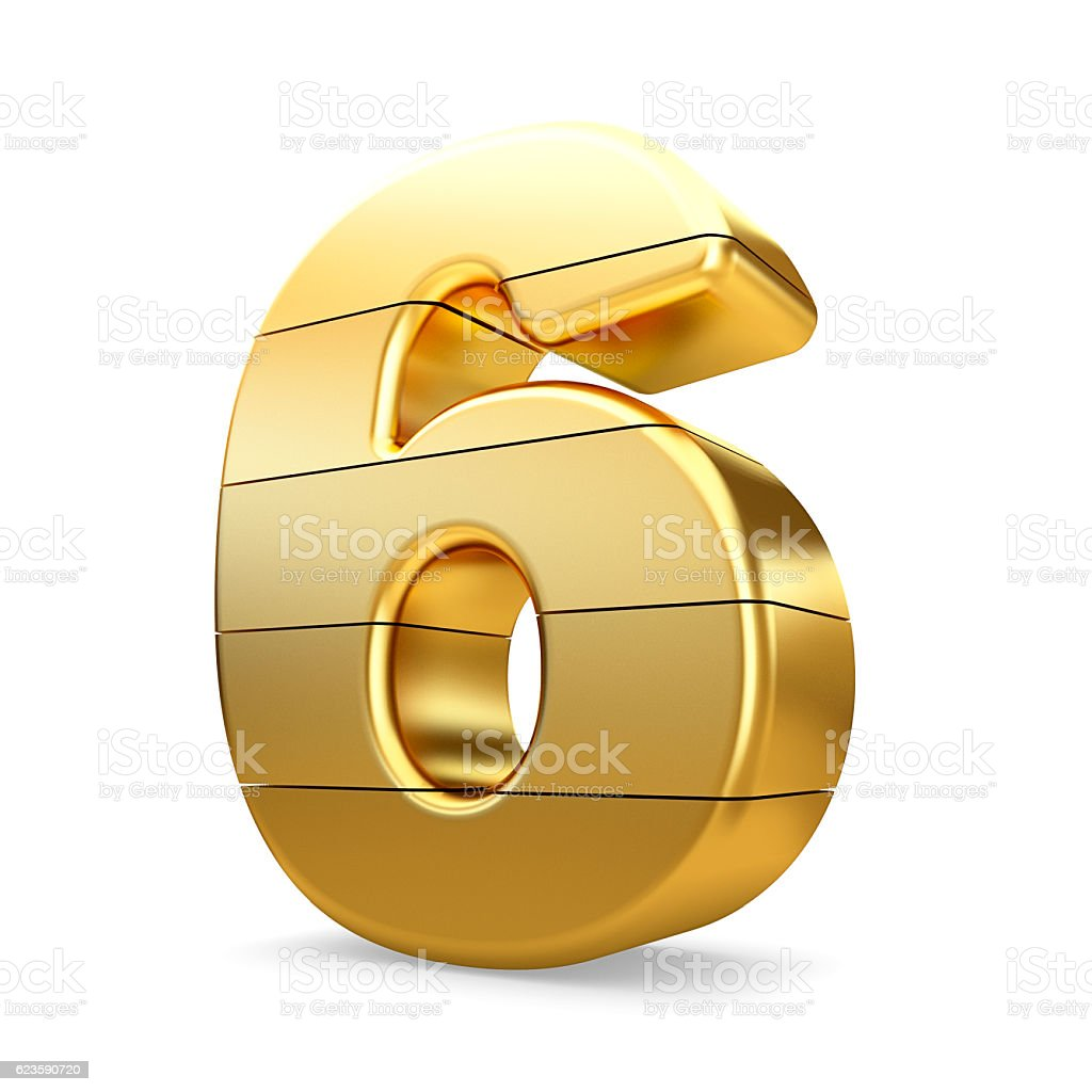 3d gold number 6 six isolated white background. stock photo