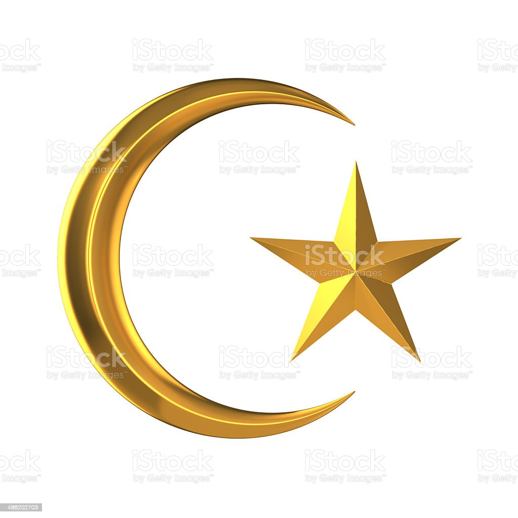 3d Gold star and crescent stock photo