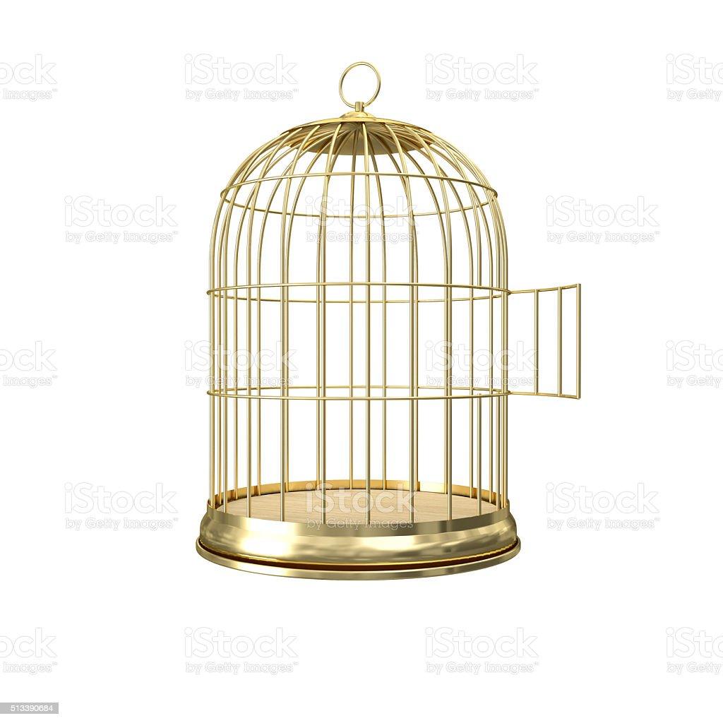 3d golden birdcage stock photo