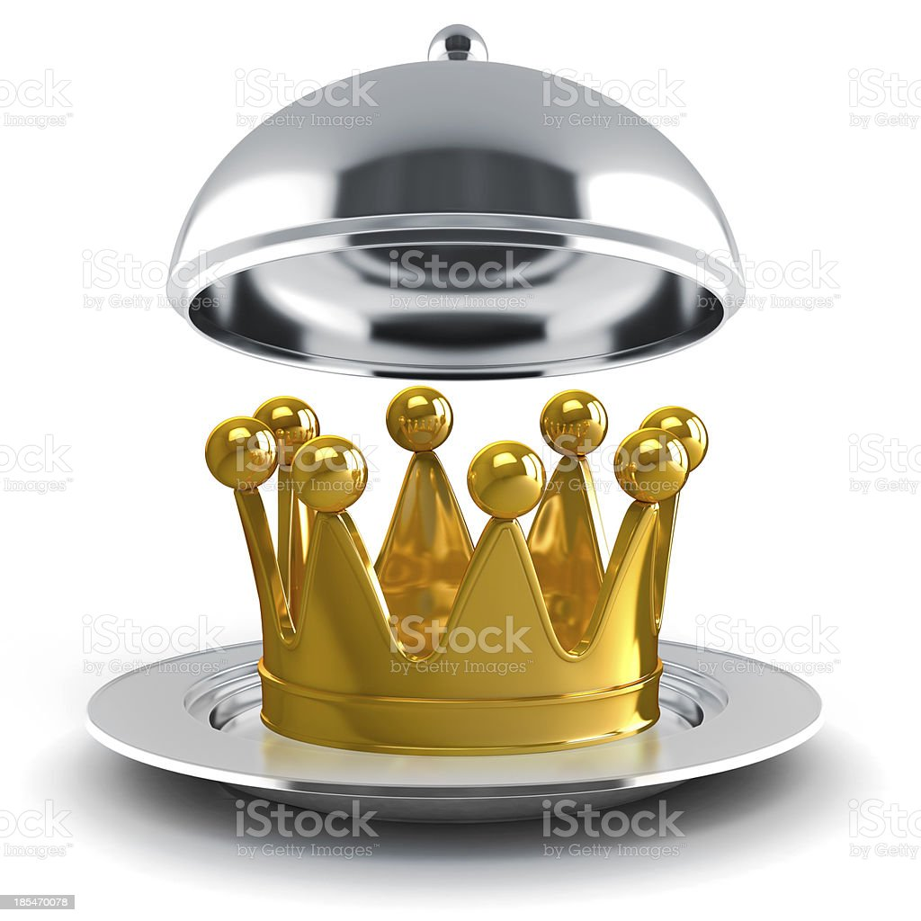 3d golden crown on white background royalty-free stock photo
