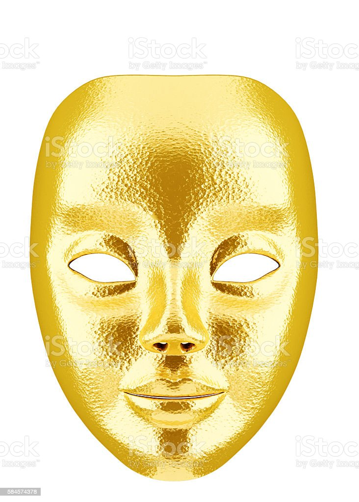 3d Golden Face Mask isolated on white stock photo