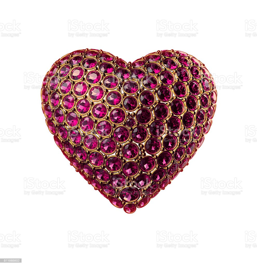 3d golden heart symbol with ruby gems, crystals, jewels; Valentines stock photo