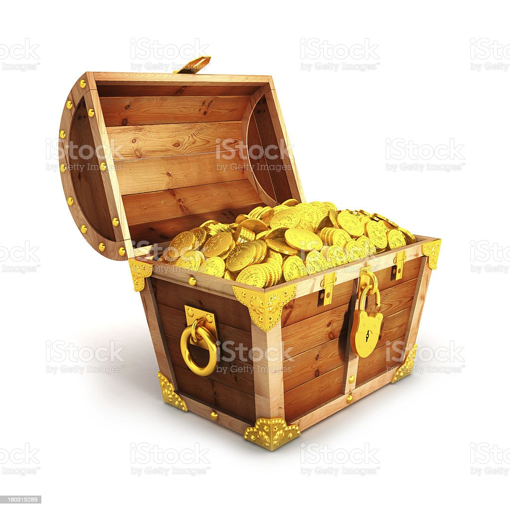 3d golden treasure chest stock photo