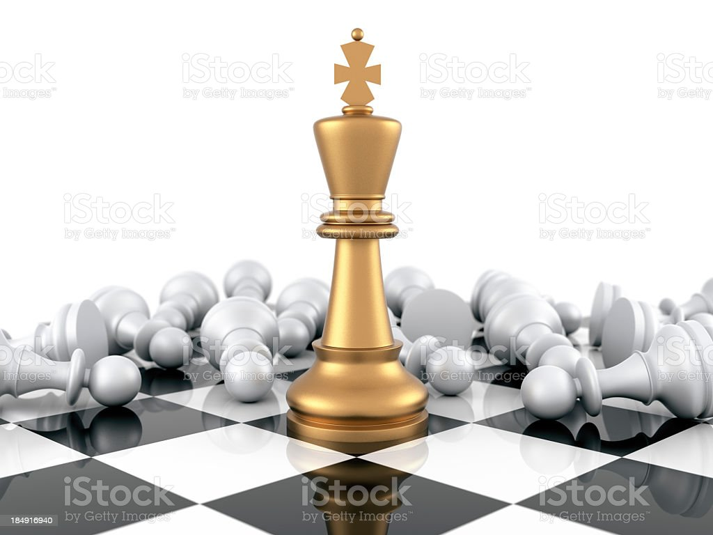3d golden victorious chess piece stock photo