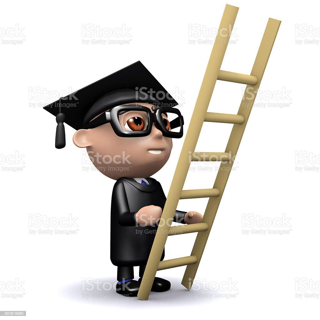 3d Graduate climbs a ladder stock photo