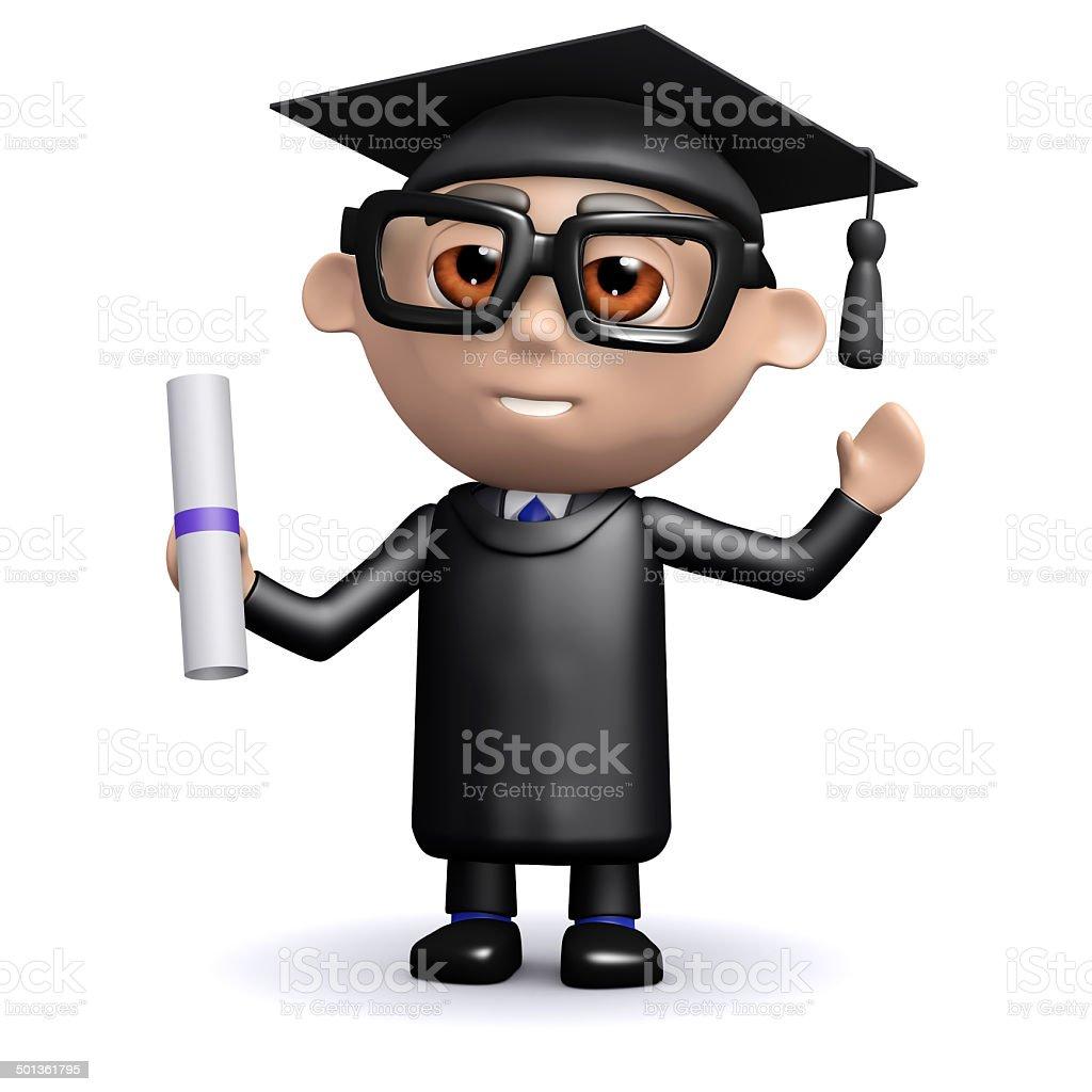 3d Graduate holding a diploma stock photo