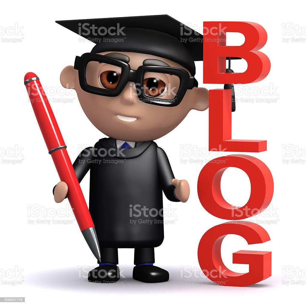 3d Graduate keeps a blog stock photo