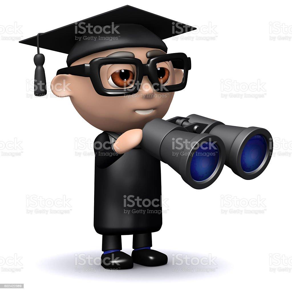 3d Graduate looks through binoculars stock photo
