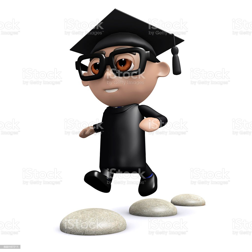 3d Graduate skips over stepping stones stock photo