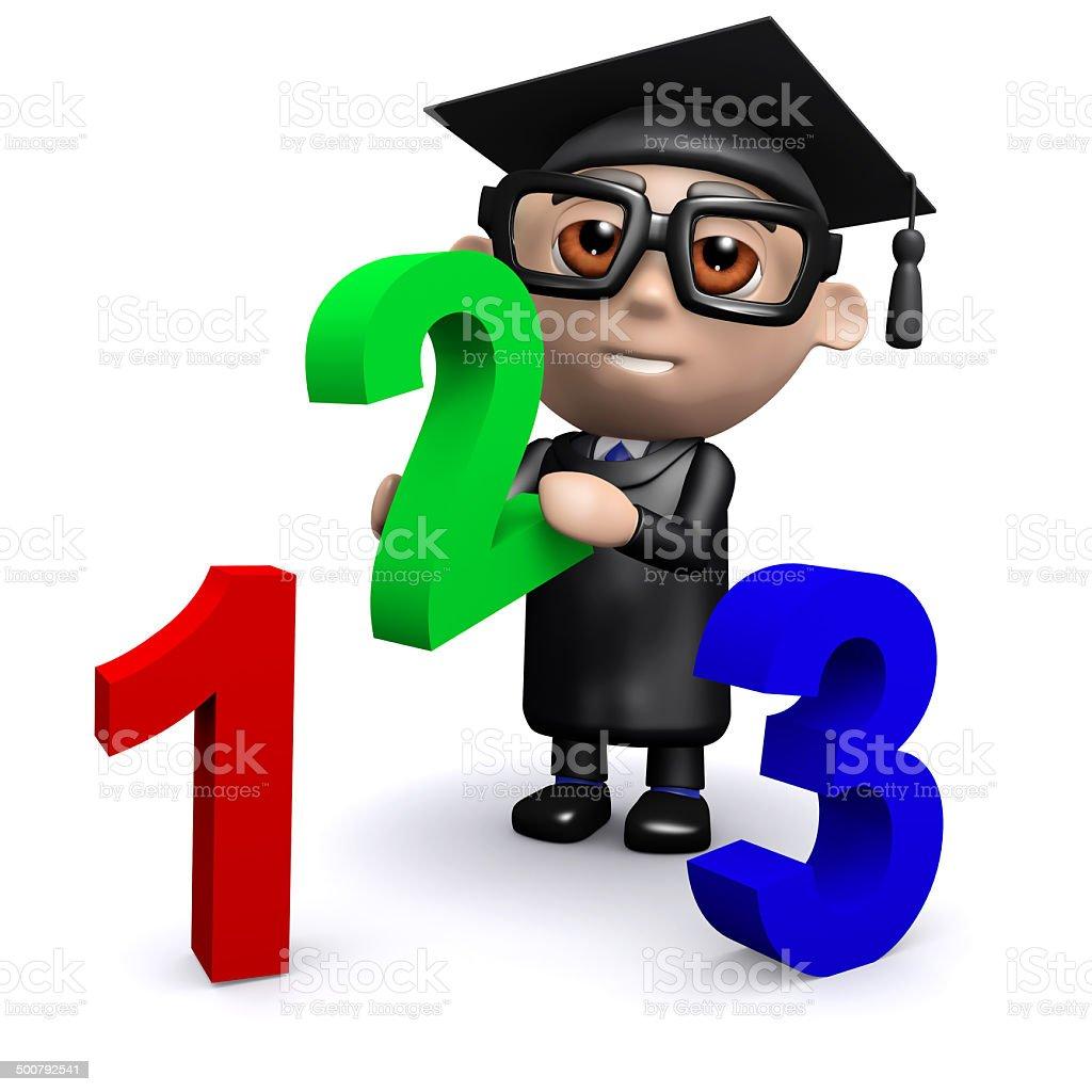3d Graduate teaches math stock photo