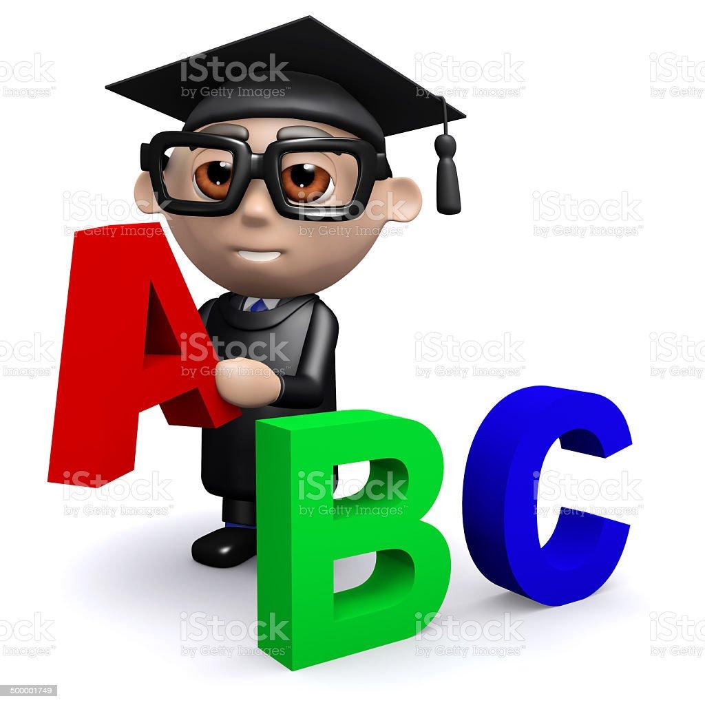 3d Graduate teaches the alphabet stock photo