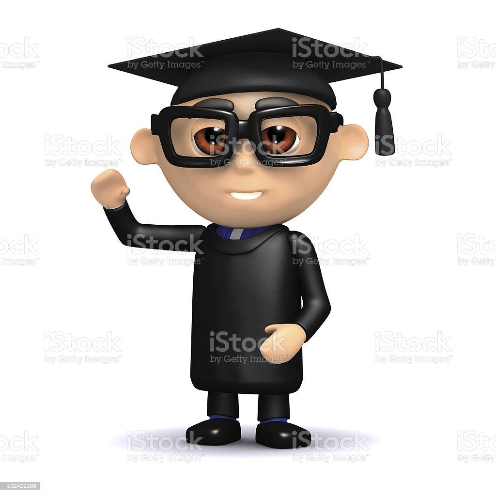 3d Graduate waves hello stock photo
