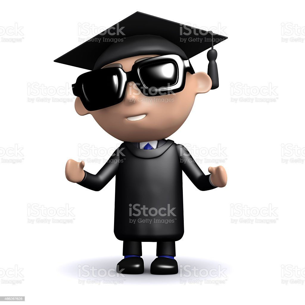 3d Graduate wearing sunglasses stock photo