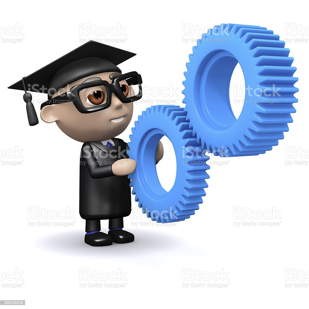 3d Graduate with gears stock photo