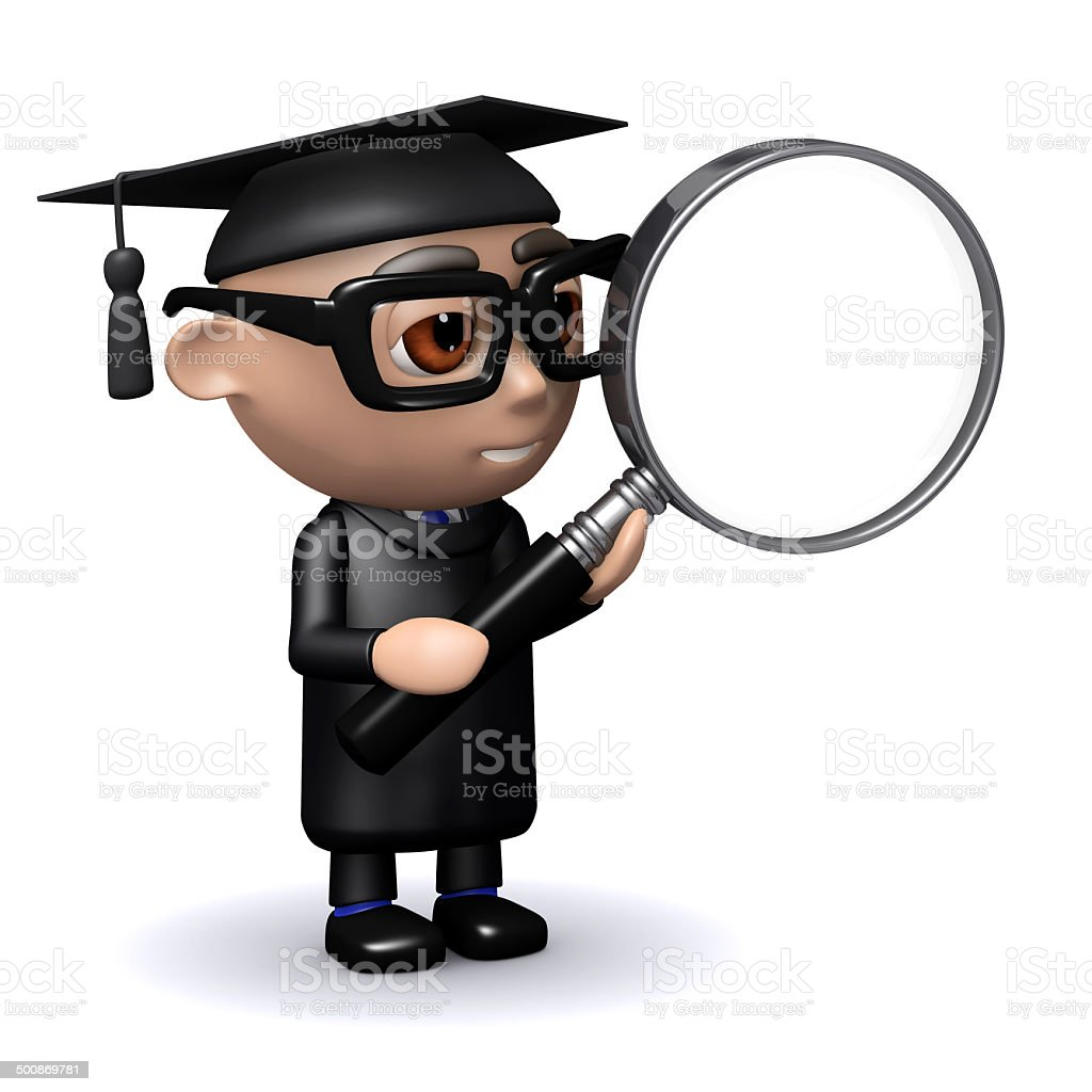 3d Graduate with magnifying glass stock photo
