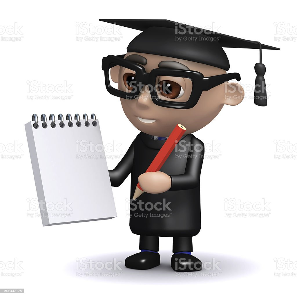 3d Graduate with notepad and pencil stock photo