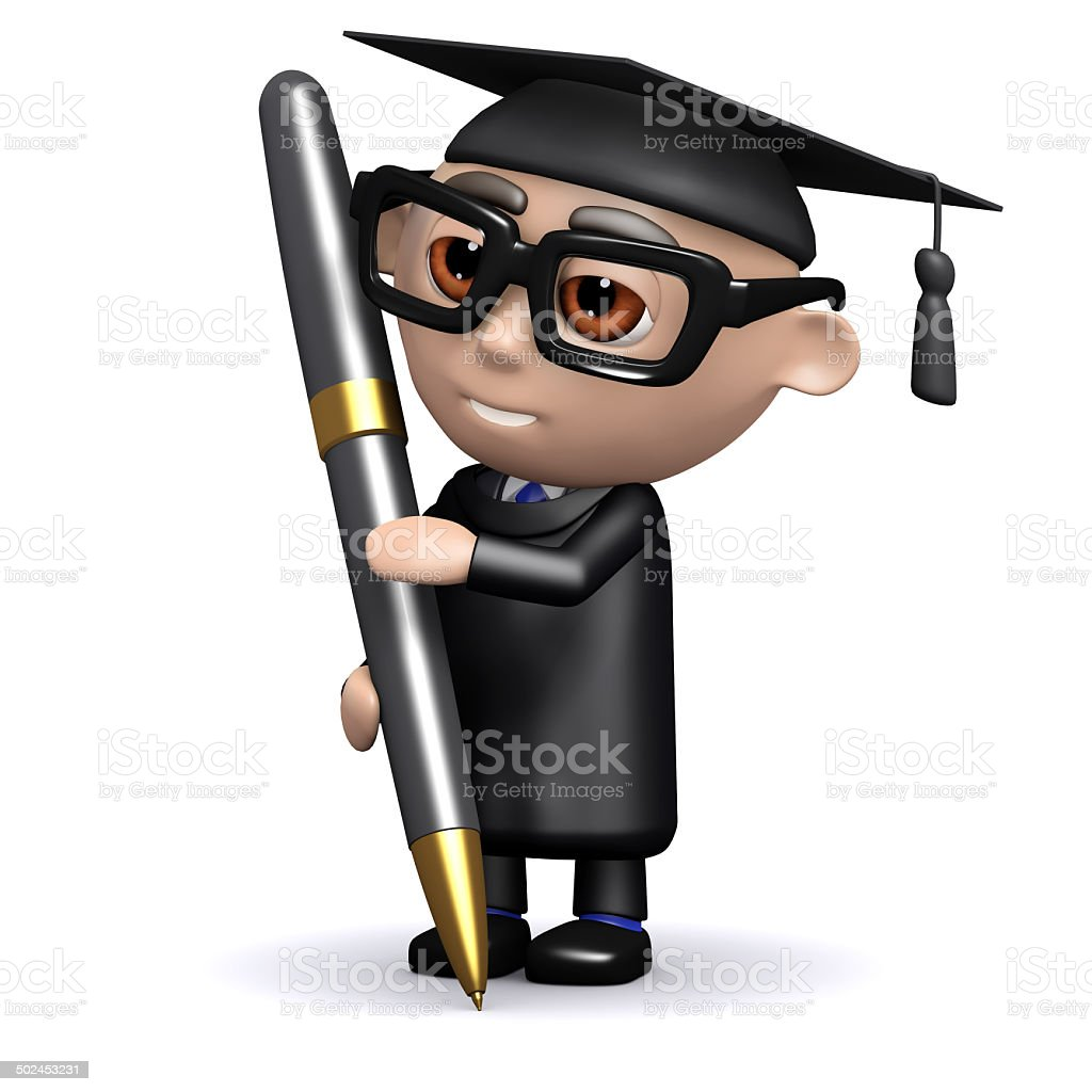 3d Graduate writing with a pen stock photo